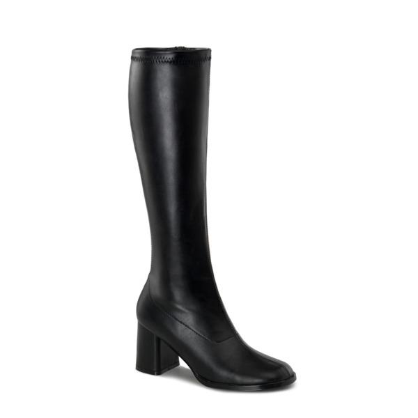Kniehoher Stiefel mit Blockabsatz GOGO-300 schwarz