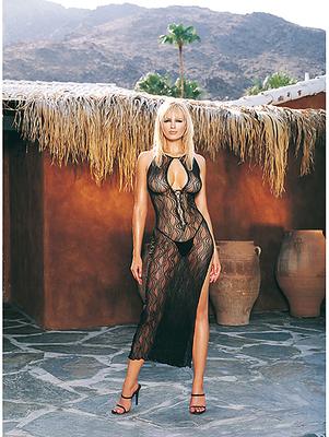 LA SWIRL LACE LONG DRESS  BLACK