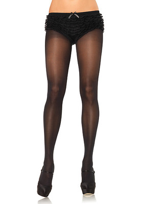 Opaque Sheer To Waist Tights With Cotton Crotch
