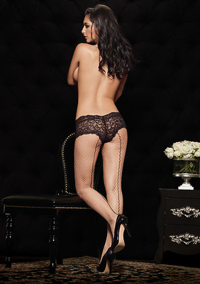 Industrial Net Pantyhose With Contrast Backseam And Boy Short Lace Top