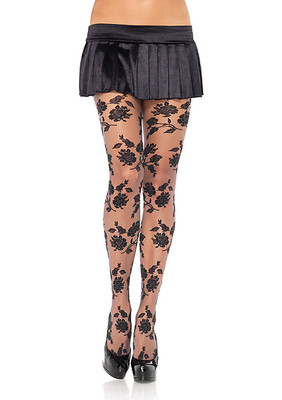 Contrast Woven Floral  Sheer Pantyhose