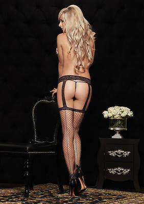 Backseam Industrial Net Garterbelt Stockings With Ankle Bow