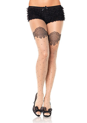 Sheer Polka Dot Pantyhose With Printed Scalloped Lace Accent