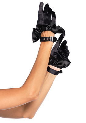 Cropped Satin Ruffle Glove With Rhinestone Look Buckle