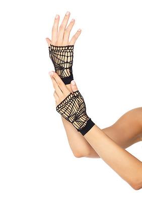 Distressed Net Fingerless Gloves