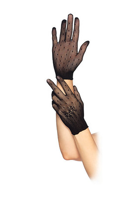 Stretch Net Dotted Gloves With Floral Accent