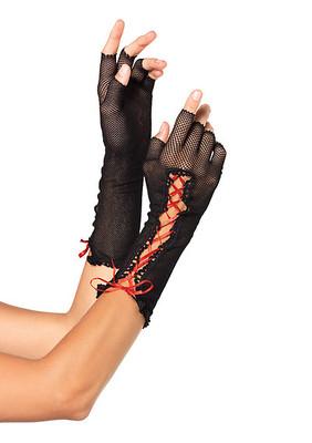 Lace Up Fishnet Fingerless Gloves