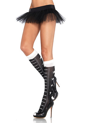 Acrylic Faux Lace Up Athletic Star Knee Highs