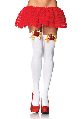 Opaque Thigh Highs With Poison Apple Accent