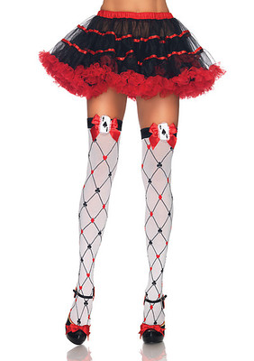 Woven Diamond Card Suit Thighs Highs With Bow And Card Charm
