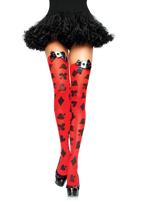 Opaque Card Print Thigh Highs With Satin Bow And Applique