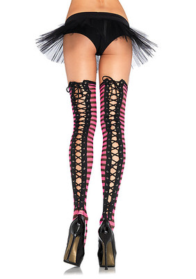Striped Fishnet Lace Up Thigh Highs