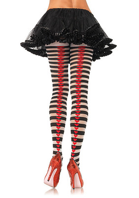 Striped Pantyhose With Heart Backseam