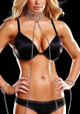 SLAVE Strass-Halsband mit Handfesseln