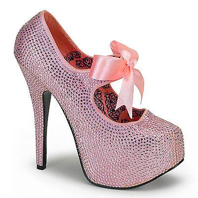 Mary Jane Pumps mit Strass und Schleife TEEZE-04R pink