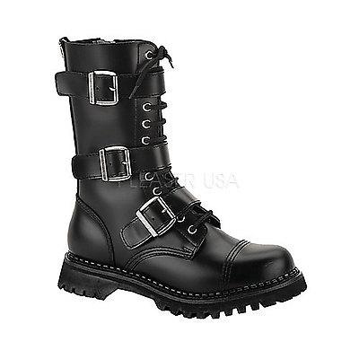 Punkstiefel aus Leder mit Stahlkappe RIOT-12 schwarz