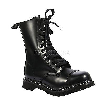 Punkstiefel aus Leder mit Stahlkappe ROCKY-10 schwarz