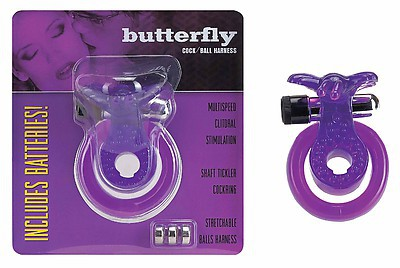 Cock & Ball Harness Butterfly purple