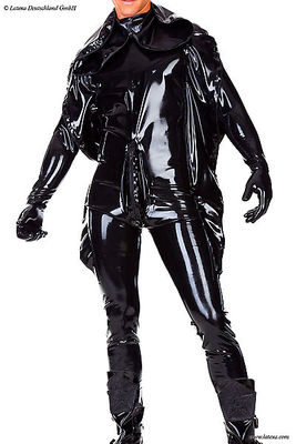 Strafanzug mit Maske und Handschuhe, getaucht/geklebt Latexa 3339