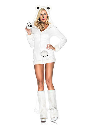 Fur Trimmed Dress With Hood, Furry Paw Ties