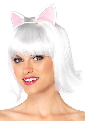 Kitty Kat Bob Wig With Attached Ears With Adjustable Elastic Strap