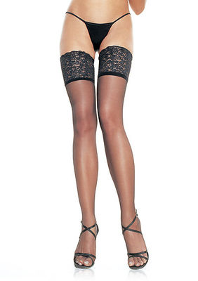 Lycra Sheer Thigh Highs With 5 Inch Silicone Lace Top