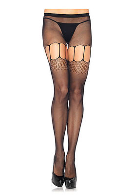 Micro Net Suspender Pantyhose With Multi Strap Thigh Detail