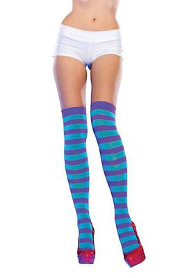 Neon Striped Thigh Highs