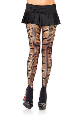 Opaque Spandex Pantyhose Weyelash Web And Net Stripe Front Accent