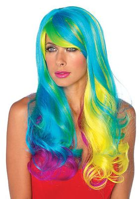 Prism Long Wavy Rainbow Wig With Adjustable Elastic Strap