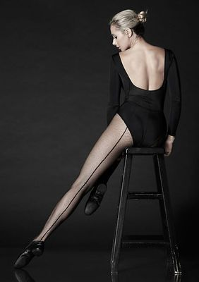 Professional Backseam Fishnet Tights With Nylon/Cotton Comfort Sole And No-Roll Comfort Waist Band