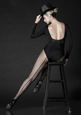Professional Rhinestone Backseam Fishnet Tights With Nylon/Cotton Comfort Sole And No-Roll Comfort Waist Band