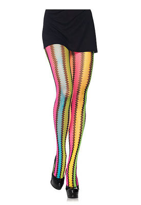 Rainbow Zig-Zag Net Pantyhose