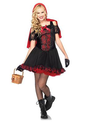 Rebel Miss Red Includes Lace Trimmed Dress With Attached Hooded Cape