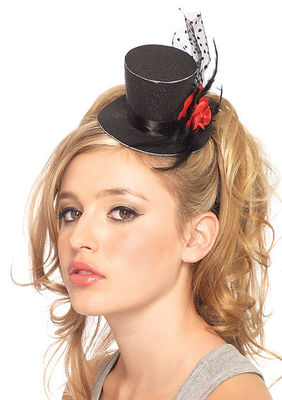Rose Clip-On Petite Glitter Top Hat With Polka Dot Mesh And Feather
