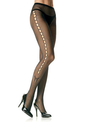 Seamless Lycra Fishnet Pantyhose With Open Hole Butterfly Side