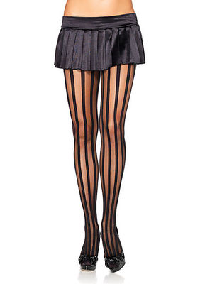 Sheer Pantyhose With Opaque Vertical Stripes