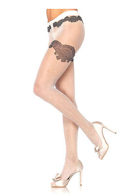 Sheer Woven Polka Dot Pantyhose With Scalloped Lace Accent