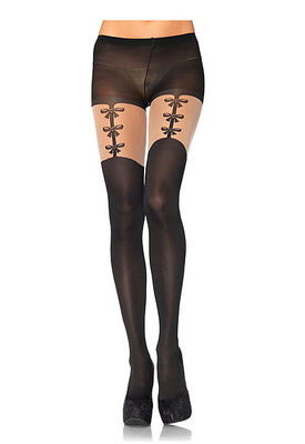 Spandex Opaque Pantyhose With Faux Woven Garterbelt Detail