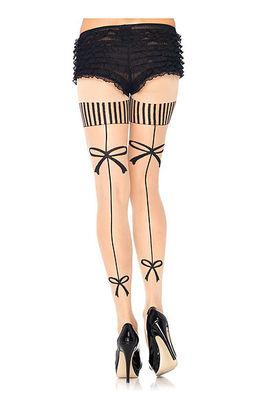 Spandex Sheer Vintage Bow Backseam Pantyhose