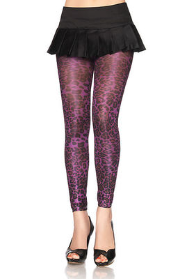 Spandex Shimmer Opaque Leopard Print Footless Tights