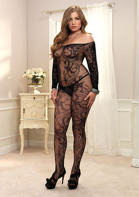 Spiral Lace Off The Shoulder Long Sleeved Bodystocking