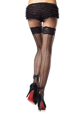 Stay Up Industrial Net Backseam Thigh Highs With Lace Top And Bow
