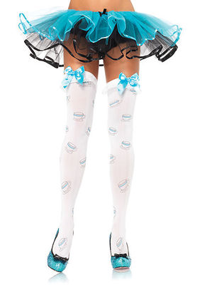 Tea Cup Ruffle Top Thigh Highs With Satin Bow Accent