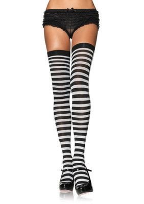 Plus Size Striped Thigh Highs