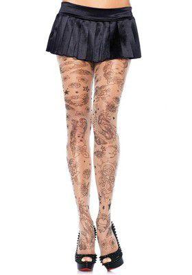 Tattoo Print Pantyhose