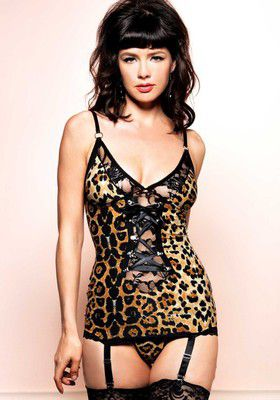2Pc. Vintage Lingerie Set With A Brushed Spandex Leopard Print Garter Dress With D-Ring Lace Up Detail And Matching G-String