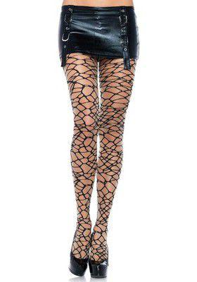 Sheer Woven Crackle Print Pantyhose