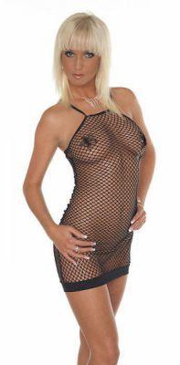 Fischnetz Kleid schwarz