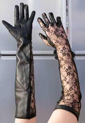 Lederhandschuhe mit Netzeinsatz